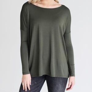 Long Sleeve Olive Green Piko